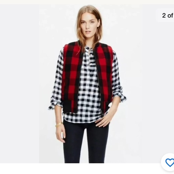 Madewell Jackets & Blazers - Madewell red buffalo checkered wool vest size S